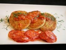 Foto pancake di macro di patata deliziosi Fotografia Stock Libera da Diritti