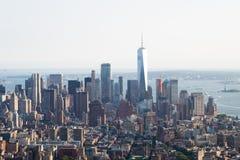 Foto panorámica del horizonte de Manhattan, skyscrappers, edificios Imágenes de archivo libres de regalías