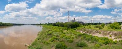 Foto panorâmico da central elétrica em Varsóvia Imagem de Stock