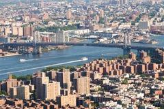Foto panorâmico da skyline de Manhattan, skyscrappers, construções Imagens de Stock Royalty Free