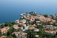 Foto panorâmico do ar de Lovran na Croácia Fotografia de Stock