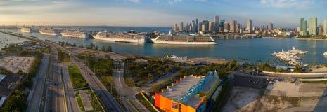 Foto panoramica aerea di porto Miami Florida U.S.A. Fotografie Stock