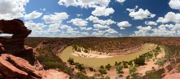 Foto panoramica del fiume di Murchison dall'allerta della natura del ` s della finestra Parco nazionale di Kalbarri Australia occ Immagine Stock Libera da Diritti