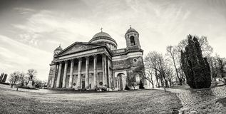 Foto panoramica di bella basilica in Esztergom, incolore Fotografia Stock Libera da Diritti