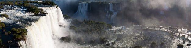 Foto panoramica le cascate di Iguazu Fotografie Stock Libere da Diritti