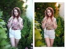 Foto perfectamente retocada de la mujer - antes y después fotografía de archivo libre de regalías
