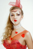 Foto Pin-para arriba de la mujer rubia con los corazones sobre blanco Fotografía de archivo libre de regalías