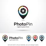 Foto Pin Template Design Vector Royaltyfri Illustrationer