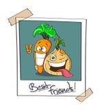 Foto polaroid de dos mejores amigos, zanahorias de la historieta y cebollas Expresiones de Joyfull Ideal para la sopa Fotos de archivo