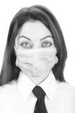 Foto preto e branco da menina na máscara Fotografia de Stock