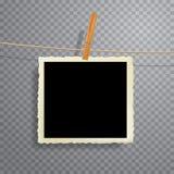 Foto quadrada na corda Imagens de Stock Royalty Free