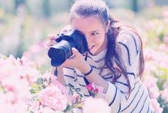 Foto que toma femenina de rosas florecientes Imagen de archivo libre de regalías