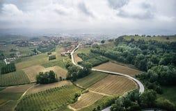 Foto a?rea de vinhedos de Piedmont fotografia de stock