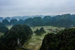 Foto a?rea del abej?n - monta?as y campos del arroz de Vietnam septentrional imagen de archivo