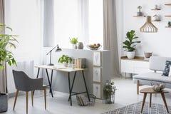 Foto real de um interior brilhante do escritório domiciliário com uma mesa, uma poltrona e umas plantas imagens de stock royalty free
