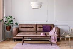 Foto real do sofá de couro marrom com posição geral do coxim violeta e do rosa pastel na luz - interior cinzento da sala de estar foto de stock