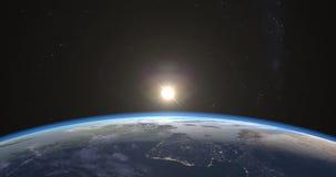 Foto-realistischer Sonnenaufgang über Erde lizenzfreie abbildung