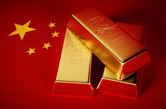 Foto-realistisk bild 3d av guld- tegelstenar med porslinbakgrund Royaltyfri Bild
