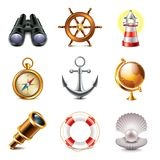 Foto-realistisk vektoruppsättning för marin- symboler vektor illustrationer