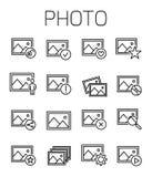 A foto relacionou o grupo do ícone do vetor Imagem de Stock