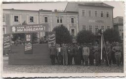 Foto retra del año del desfile del ejército rojo en 1945 en Chehoslovakia Fotografía de archivo
