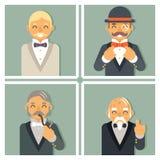 A foto retro do vintage molda o homem de negócios vitoriano rico Old Young Family do cavalheiro Fotos de Stock Royalty Free