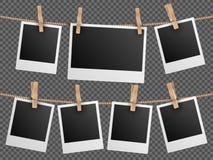A foto retro molda a suspensão na ilustração transparente quadriculado do vetor do fundo da corda ilustração royalty free