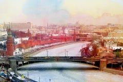 Foto retro Moskou het Kremlin Royalty-vrije Stock Fotografie