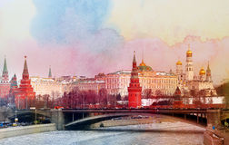 Foto retro Moskou het Kremlin Stock Fotografie
