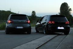 Foto` s av en Volkswagen Golf 5 och Volkswagen Golf 6 GTI Royaltyfria Foton