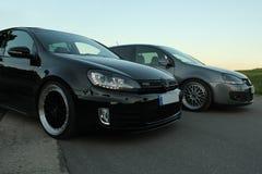Foto` s av en Volkswagen Golf 5 och Volkswagen Golf 6 GTI Arkivfoton