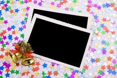 Foto's, confettis en decoratie Stock Fotografie