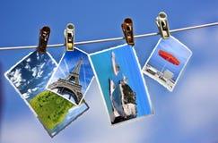 Foto's die op een kabel hangen Royalty-vrije Stock Afbeelding