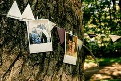 Foto's van paar en linten die op boom, met de hand gemaakte versiering hangen royalty-vrije stock afbeelding