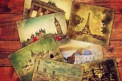 Foto's van vakantie, vakantie die op houten lijst liggen Stock Foto