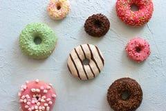 Foto's van verschillende donuts Royalty-vrije Stock Afbeeldingen