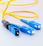 Foto simbólica de los conectores de las fibras ópticas para Internet rápido Imagenes de archivo