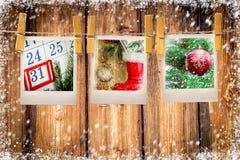 Foto'skaders op Kerstmisachtergrond De ruimte van het exemplaar Royalty-vrije Stock Afbeelding