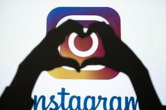 Foto social de la red de Instagram que comparte en línea Imagen de archivo
