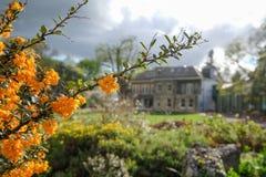 Foto som tas på en molnig vårdag av Pinner Memorial Park, UK, västra hus och Heath Robinson Museum i bakgrunden royaltyfri fotografi
