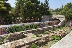 Foto subterráneo del transporte del metro de Atenas Fotografía de archivo