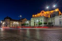 Foto surpreendente da noite do conjunto nacional na cidade de Sófia fotos de stock royalty free