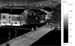 Foto térmica da imagem, escala cinzenta de construção Imagens de Stock Royalty Free