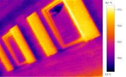 Foto térmica da imagem, escala de cor de construção Imagem de Stock