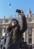 Foto turistica Roma di Vaticano del selfie Fotografia Stock Libera da Diritti