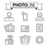 Foto- und Kameralinie Ikonen Lizenzfreie Stockfotografie