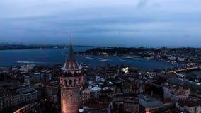Foto urbana aérea de la opinión de la torre de Galata del paisaje urbano del horizonte de Estambul Foto de archivo libre de regalías