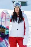 Foto van atleet met het snowboarding royalty-vrije stock foto's