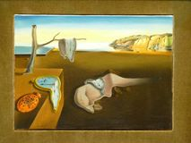 Foto van beroemde die origineel de Persistentie van Geheugen door kunstenaar Salvador Dali wordt geschilderd Royalty-vrije Stock Foto