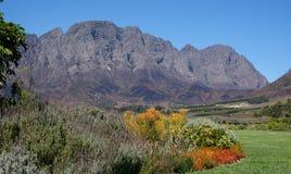 Foto van de Franschhoek-vallei die uit Mont Rochelle Wine Estate, Zuid-Afrika wordt genomen, dat door Richard Branson wordt bezet royalty-vrije stock foto's